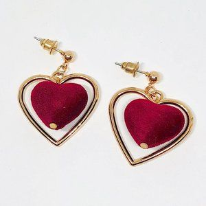 New! Red Heart Hoop Dangle Earrings Gold